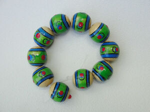 Hand Painted Wooden Beads 20mm  round 10 pc.