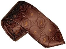 $285 NEW BRIONI TERRACOTTA BROWN MEDALLION w ORANGE PAISLEY 100% SMOOTH SILK TIE