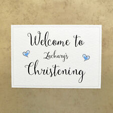Personalised A4 Welcome to Christening Sign - Blue Hearts - 260gsm Hammer Card