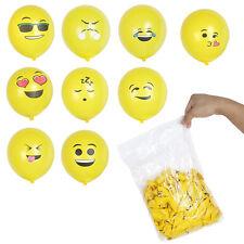"12pcs 12"" Yellow emoji Round Balloons LATEX BALLOONS Birthday Party Oranment"