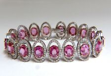 27.47ct natural Vivid Pink Sapphire diamond bracelet 14kt g/vs pink halo prime