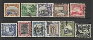 Cyprus Scott #125-#135 used 1934 set of various scenes lightly canceled f/vf
