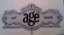 New listing AGE SURFBOARDS 1970s Surfboard Manufacturer NSW Sticker Decal LONGBOARD Surfing