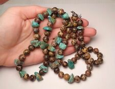 """VINTAGE TURQUOISE JASPER BEAD STRAND NECKLACE 35"""" INCHES LONG 119g"""