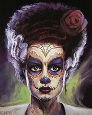 Bride of Frankenstein - Day of the Dead ORIGINAL, MTG artist BAXA, Halloween