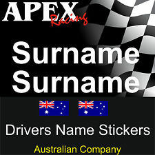 Motor Racing Stickers - Drivers Surname Name / Flag Decal  - CAMS Rally Drift