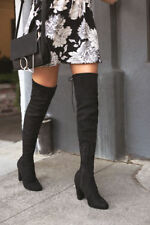 "NEW Ladies Black 3""Block High Heel Over The Knee Sexy Boots Size 5.5"