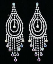 "4.75"" Bridal Pageant AB Crystal Chandelier Earrings"