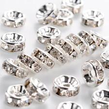 Lot 20 Perles Rondelle Argenté 7mm Couleur Strass Transparent Creation Bijoux,