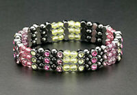 Magnetic Hematite Fashion Bracelets Pink Crystal Beads Stretch For Women