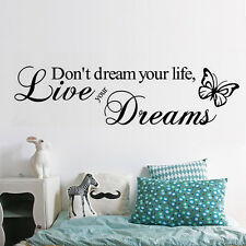 Live Your Dreams PVC Art Decal DIY Decors Quote Home Wall Stickers Removable