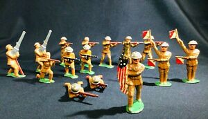 Lot of 15 Barclay Manoil Lead Toy Soldier Tin Helmet Lot As Shown