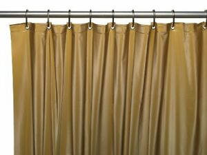 "GOLD  Vinyl Shower Curtain Liner: Metal Grommets, Magnets, 72"" Long"