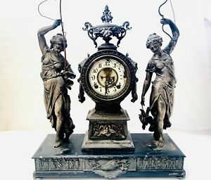 RARE ANSONIA HUNTER FISHER 19th C MANTEL CLOCK UNRESTORED ESTATE FIND RUNS