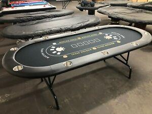 "84"" PROFESSIONAL 7FT POKER TABLE  [BLACK FELT] + JUMBO STAINLESS STEEL CUP"