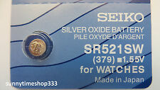 SR521SW/379, Seiko Watch Battery, Made in Japan, Silver Oxide, 1.55V