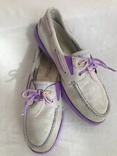 Sperry Top-Sider Boatshoes Shimmery Gray-Silver Suede w/Purple Accents Size 2.5M