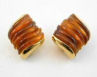 Vintage Replica Collection Clip On Earrings Amber Tone Molded Goldtone Metal