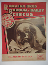 1954 Felix Adler Clown Cover Ringling Brothers B&B Circus Mailer - Pittsburgh PA