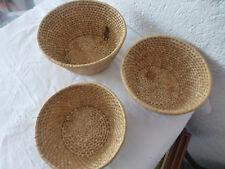 lot de 3 anciennes corbeille osier paille rotin vintage art deco french