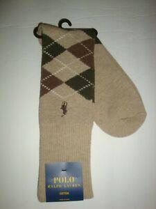 New Polo Ralph Lauren Men's Cotton Dress Socks Argyle Taupe/Tan/Olive 10-13