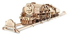 UGears V-Express Steam Train with Tender - Wooden Mechanical Model - 538 Pieces