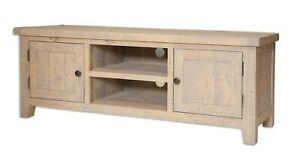 Pre-Assembled Lime Wash Finish 4K TV Cabinet - Shabby Chic - Reclaimed Pine Wood