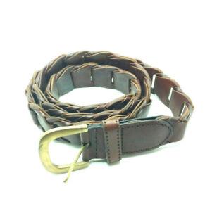 Perry Ellis Leather Belt Brown Braided Ladder Style Brass Buckle Sz ML