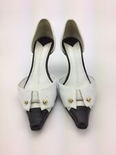 Authentic CHANEL Black White Color Block Tuxedo Leather D'orsay Pump 38