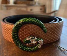 GUCCI~ Snake Belt~ Bronze, Green~ Sz 36, L~ LIKE NEW