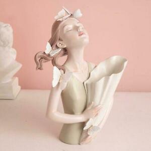 Resin Butterfly Girl Vase Sculpture Home Decor Room AU Gift Vase Flower C8T9