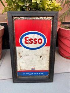 Vintage Tin Esso Kerosene Oil Advertisement Tin Sign Board Made In France Frame