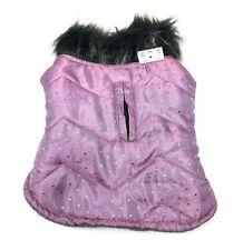 New listing Pet Spirit Dog Jacket Xs Polka Dots Purple Turquoise Fleece Lined Faux Fur