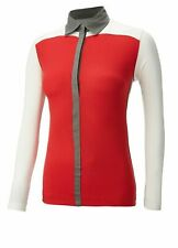 BNWT  Callaway Ladies Red/grey/winter white Long sleeved Golf Shirt  Size L
