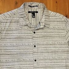 Forever 21 Men Long Sleeve Shirt Gray Striped Geometric Casual Trendy Small