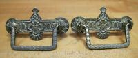 Antique Pair Eastlake Flowers Brass Drawer Pulls Hardware Elements