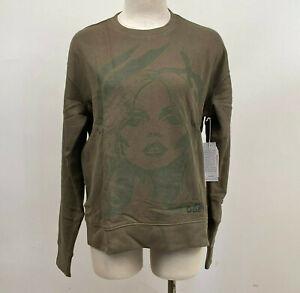 Obey Women's Crew Sweatshirt Debbie Zebra Dusty Army Size S NWT Blondie