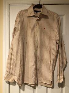 Burberry London Men's Long Sleeve Button Front Dress Shirt Pink Stripe 16.5 / 42