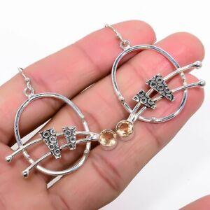 """Faceted Morganite Gemstone 925 Sterling Silver Earring 2.2"""" KE-5454"""