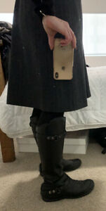 North Face Leather Knee High Biker Boots 41/9.5 EUC