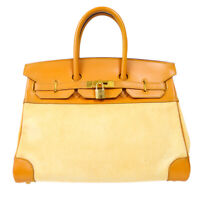 HERMES BIRKIN 35 Hand Bag □B 6C Purse Brown Beige Toile H Vintage 70843
