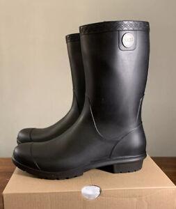 UGG SIENNA MATTE BLACK WATERPROOF RUBBER WOMAN'S RAIN BOOTS SIZE US 8 1100510