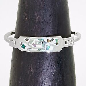 Artisan Silver Hand Made Abalone Geometric Cuff Bracelet from Taxco Mexico