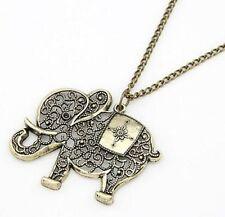 Fashion Charm Hollow Elephants Pendant Sweater Chain Antique Bronze Necklace