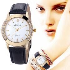 Geneva Women Leather Watch Diamond Stainless Steel Analog Quartz Wrist Watches