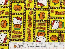 HELLO KITTY Candy Corn Pumpkins Halloween Sanrio Cotton Fabric  BTY  (F2) >