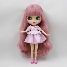 """12"""" Neo Blythe doll nude Doll Special zone body Long pink hair GJ029 matte face"""