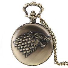 Classic Steampunk Game of Thrones House Stark Quartz Pocket Watch Chain Men Gift