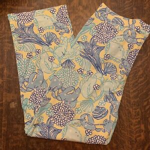 Lilly Pulitzer Womens Lobster Crab Mums Pants Yellow Blue Size 4