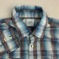 Vintage Levi Strauss 1980 USA Olympic Games Pearl Snap Shirt Mens XL Long Sleeve